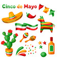 mexican cinco de mayo set objects vector image