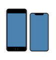 Mockup smartphone black cell phone with blue