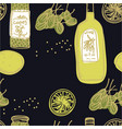 olive oil and capers seamless pattern vector image vector image