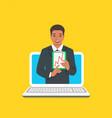 online business school male coach concept vector image vector image