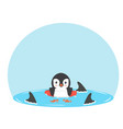 penguin swimming inflatable ring with fin sharks vector image vector image