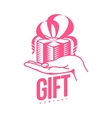 pink and white graphic gift box logo templates vector image