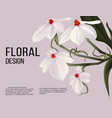 rhodosticta realistic flower card with text vector image vector image