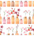 seamless pattern with small vintage bottles vector image vector image