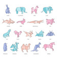 set animals origami figures in geometric flat vector image