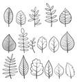 set doodle tree leaves vector image