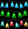Set of Glowing Christmas Trees vector image vector image