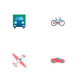 set of vehicle icons flat style symbols with bike vector image