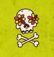 Skull and Bones with Floral Element Cartoon vector image