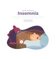 sleepless man face cartoon character suffers from vector image vector image