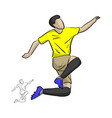 soccer player jumping for celebrating his goal vector image vector image