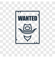 wanted concept linear icon isolated on vector image vector image