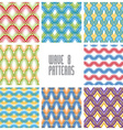Waves seamless patterns set colorful geometric vector image vector image