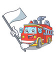 with flag fire truck mascot cartoon vector image