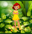 yellow fairy flying in garden vector image vector image