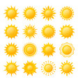 yellow sun icon set image vector image vector image