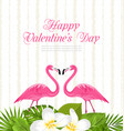 cute card with pink flamingos and green leaves for vector image