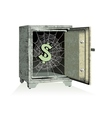 Dollar sign on spiderweb inside of an open safe vector image