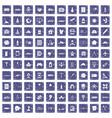 100 development icons set grunge sapphire vector image vector image