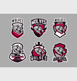 a set of colorful emblems logos snarling wolf vector image vector image
