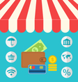 business concept flat icons set of online shopping vector image
