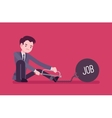 Businessman chained with a metall weight Job vector image vector image