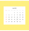 Calendar page for July 2015 vector image