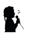 child silhouette singing vector image