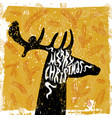 christmas card grunge style with deer silhouette vector image vector image