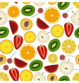 colorful sliced various fruit summer seamless vector image vector image