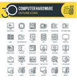 computer hardware outline icons vector image