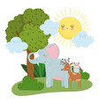 cute animals elephant deer and owl grass tree vector image