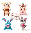 deer unicorn rabbit raccoon - set animals vector image