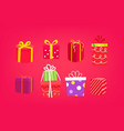 different color gift boxes set isolated on red vector image