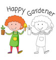 doodle gardener character on white background vector image vector image