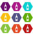 empty bottle icons set 9 vector image vector image