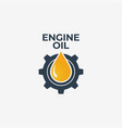 engine oil logo gear with oil on white vector image vector image