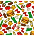 Fast food burger with ingredients seamless pattern vector image vector image