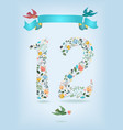 floral number twelve with ribbon and birds vector image vector image