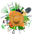 Garden Accessories with Sun Hat vector image vector image
