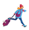 girl run with luggage girl running in a hurry vector image