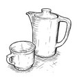hand drawing of teapot and cup vector image