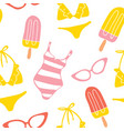 hand drawn summer seamless pattern vector image vector image