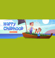 happy childhood cartoon web banner kids playing vector image
