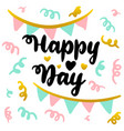 happy day handwritten postcard vector image