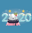 happy new year 2020 celebration cute bear vector image vector image