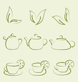 Herbal tea set cups and teapots vector image vector image