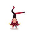 joker flat cartoon character standing upside down vector image vector image