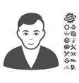 Man Icon With Tools Bonus vector image vector image
