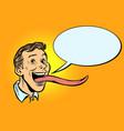 man with a long tongue vector image vector image
